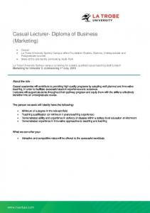 Casual Lecturer- Diploma of Business (Marketing)