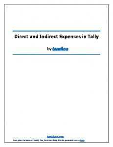 Direct and Indirect Expenses in Tally by teachoo