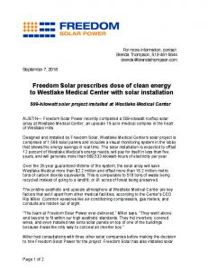Freedom Solar prescribes dose of clean energy to