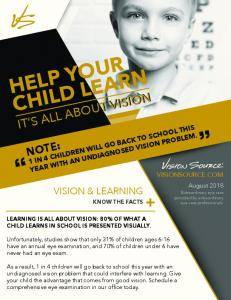 help your child learn note: 1 in 4 children will go back