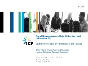Rural Homelessness Data Collection and Utilization 201