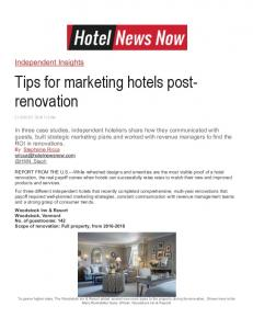 Tips for marketing hotels post- renovation